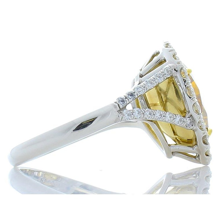 GIA Certified 4.68 Carat Pear Shape Fancy Brownish Yellow Diamond Cocktail Ring In New Condition For Sale In Chicago, IL