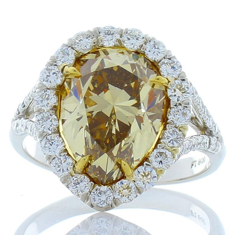 GIA Certified 4.68 Carat Pear Shape Fancy Brownish Yellow Diamond Cocktail Ring For Sale 1