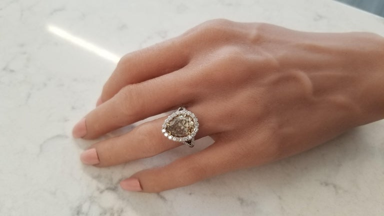Pear Cut GIA Certified 4.68 Carat Pear Shape Fancy Brownish Yellow Diamond Cocktail Ring For Sale