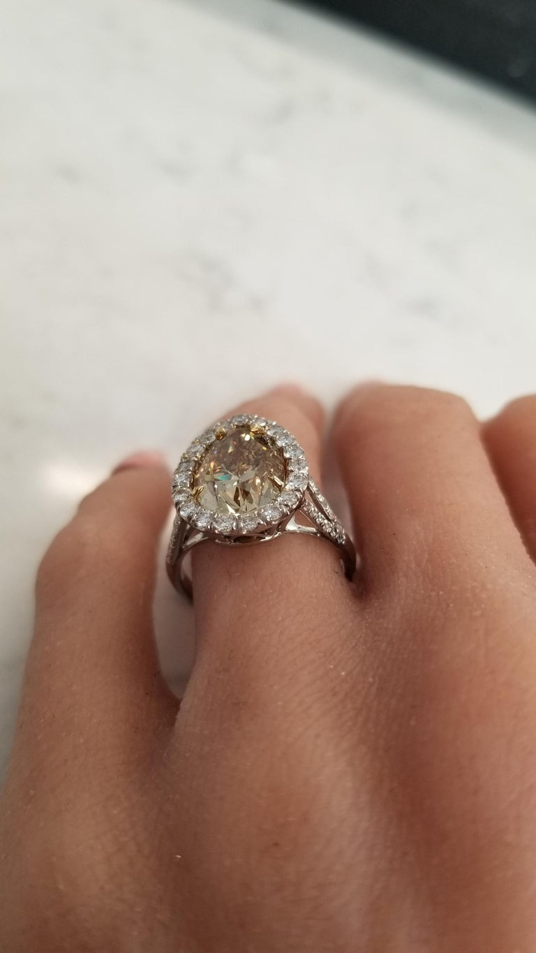 GIA Certified 4.68 Carat Pear Shape Fancy Brownish Yellow Diamond Cocktail Ring For Sale 2