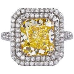 GIA Certified 4.68 Carat Yellow Radiant Cut Diamond