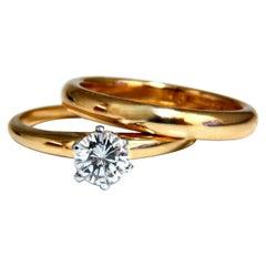 GIA Certified .47 Carat E.vs2 Natural Round Diamond Ring & Wedding Band 18 Karat