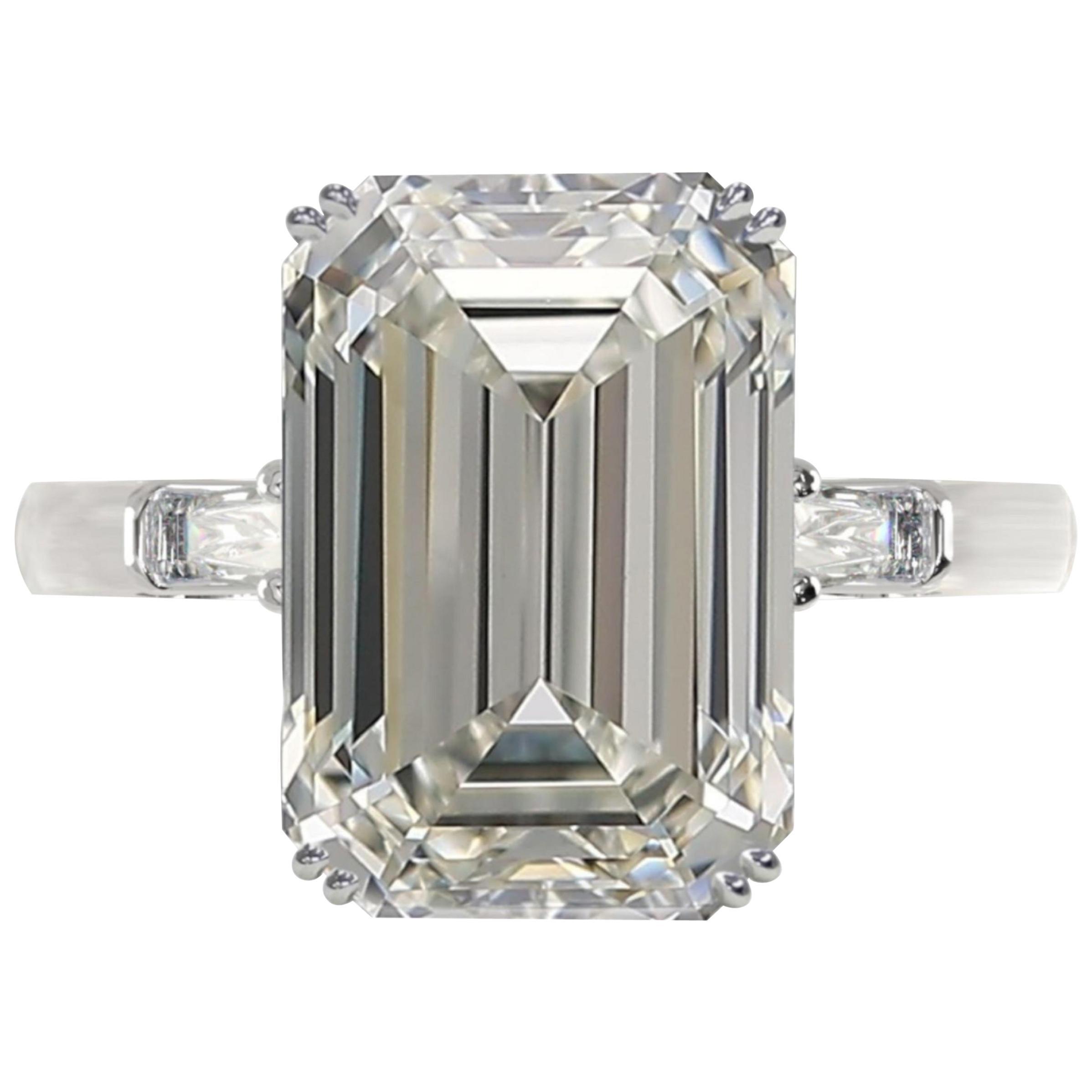 GIA Certified 4.70 Carat Emerald Cut Diamond Ring Long Ratio 1.57
