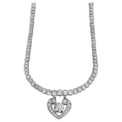 GIA Certified 4.70 Carat Round Brilliant Cut 18 Carat White Gold Necklace