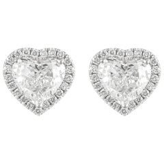 GIA Certified 4.73 Carat Heart Diamond with Halo Stud Earrings 18 Karat Gold