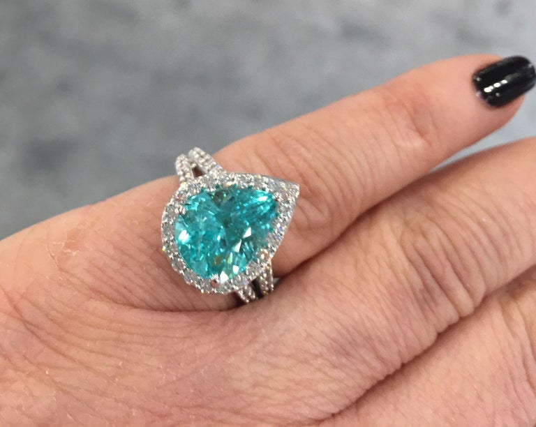 Gia Certified 4 73carat Paraiba Tourmaline Diamond Gold