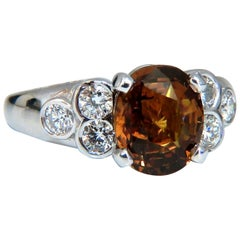 GIA Certified 4.75 Carat Natural No Heat Orange Brown Sapphire Diamond Ring 14kt