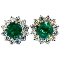 GIA Certified 4.78ct Natural Round Emeralds Diamond Earrings 14kt Cluster Halo