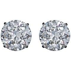 GIA Certified 3.78 Carat Round Brilliant Cut Diamond Studs VVS1 D/E