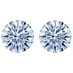 GIA Certified 4.80 Carat Round Brilliant Cut Diamond Studs