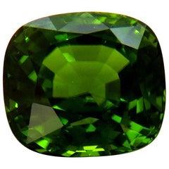 GIA Certified 48.09 Carat Natural Vivid Green Peridot Cushion VVS