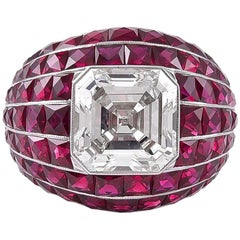 GIA Certified 4.81 Carat Center Diamond and Ruby Bombay Ring