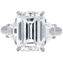 GIA Certified 4.83 Carat H-VS1 Emerald Cut Diamond Ring