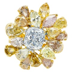 GIA Certified 4.86 Carat Natural Fancy Light Blue and Yellow Pink Diamonds Ring