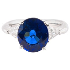 GIA Certified 4.88 Carat Sapphire and Diamond Engagement Ring Set in Platinum