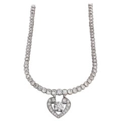 GIA Certified 4.90 Carat Round Brilliant Cut 18 Carat White Gold Necklace