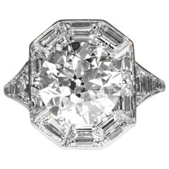 GIA Certified 4.92 Carat I SI2 Old European Cut Art Deco Diamond Ring