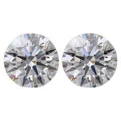 GIA Certified 4.93 Carat Round Brilliant Cut Diamond Studs Internally Flawless