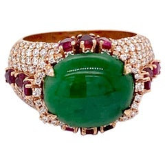 GIA Certified 4.94ct Imperial Jadeite Jade Type A 18K Rose / Yellow Gold Ring