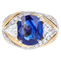 GIA Certified, 4.97 Carat Sapphire and Diamond Ring
