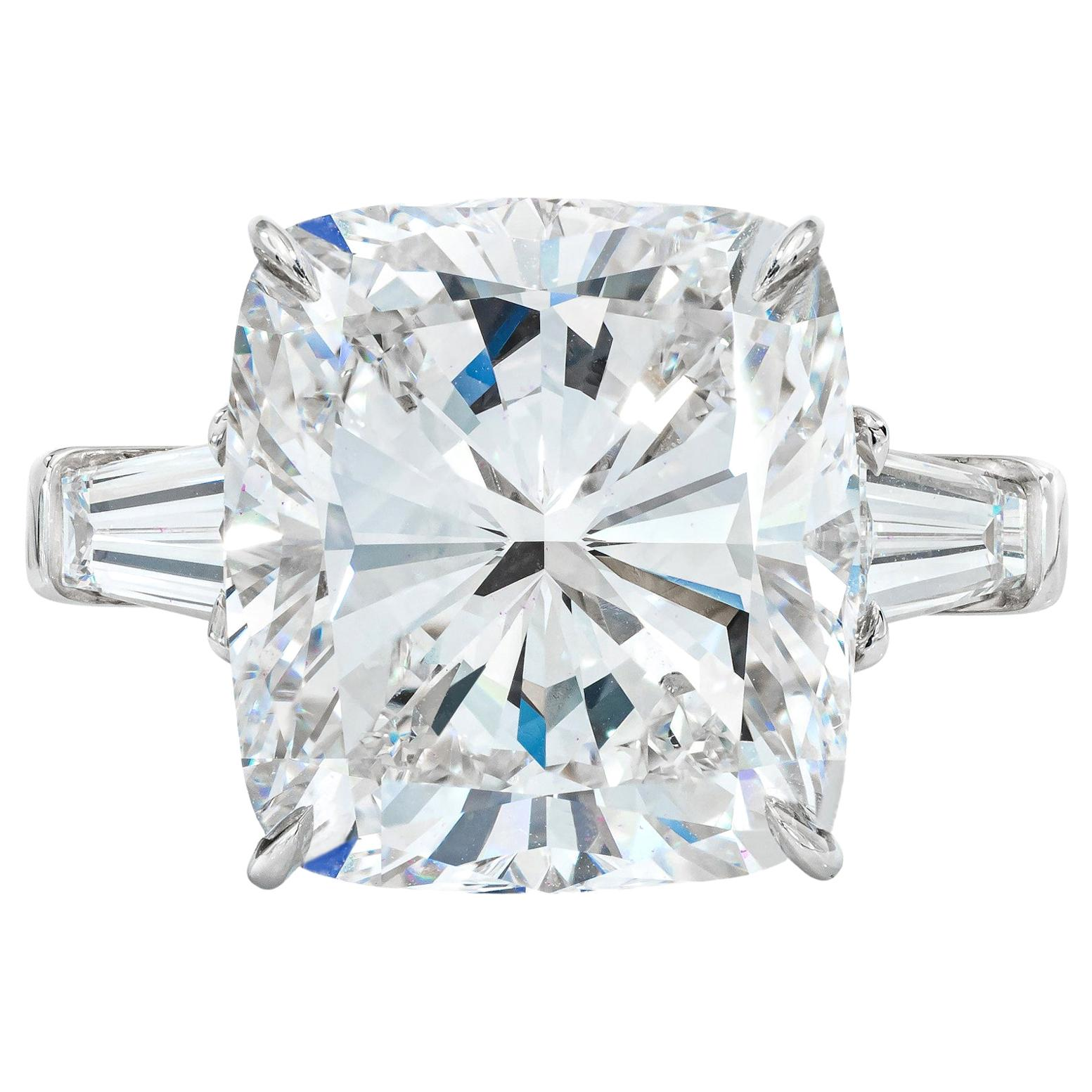 GIA Certified 4.65 Carat Cushion Tapered Baguette Diamonds Platinum Ring