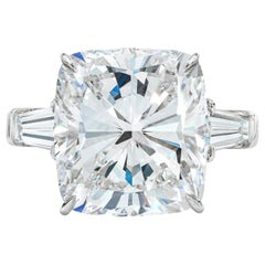 GIA Certified 4 Carat Cushion Tapered Baguette Diamonds Platinum Ring