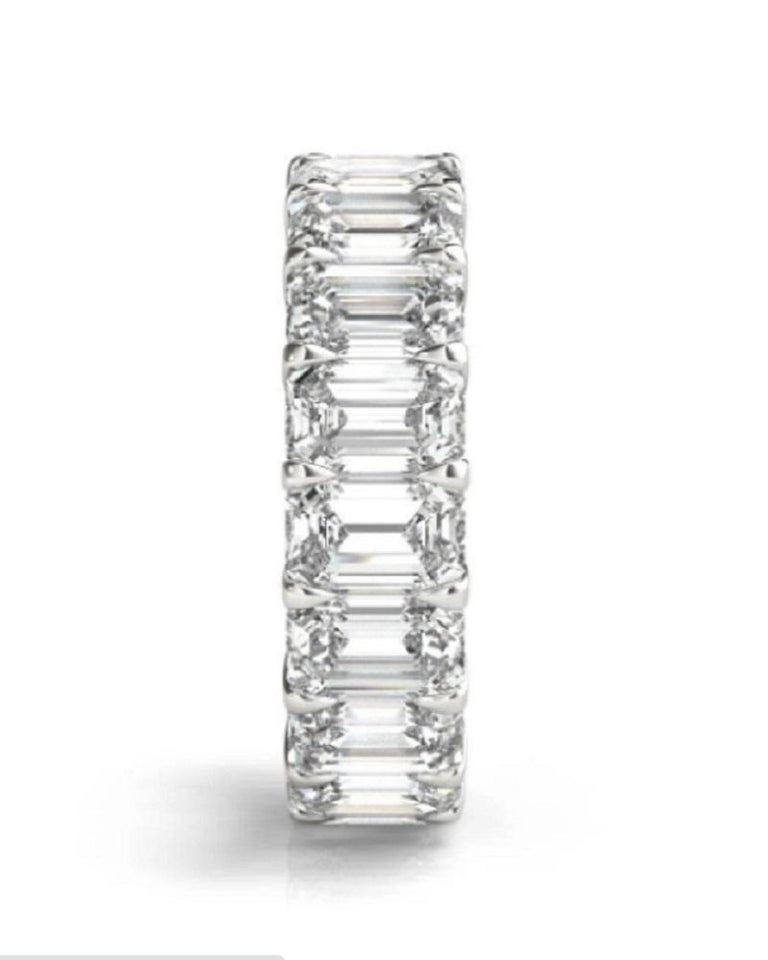 This gorgeous emerald cut diamond eternity band weights 5 carats has 18 emerald cut diamonds all certified by GIA.  The gorgeous 5.00 carat of perfectly matched emerald cut diamonds are set in platinum.