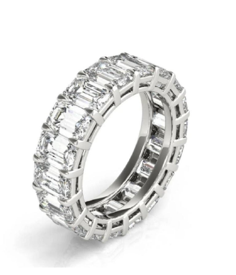 Modern GIA Certified 5 Carat Emerald Cut Diamond Eternity Band Ring For Sale