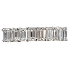 GIA Certified 5 Carat Emerald Cut Diamond Eternity Band Ring