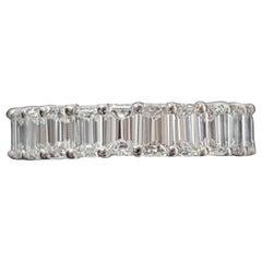 GIA Certified 5 Carat Emerald Cut Diamond Eternity Band Ring