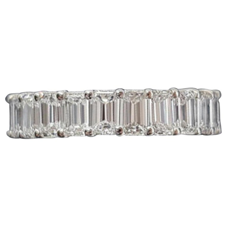 GIA Certified 5 Carat Emerald Cut Diamond Eternity Band Ring For Sale
