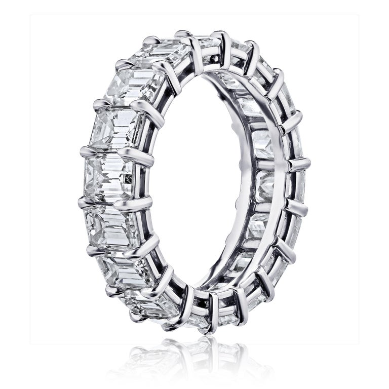 GIA Certified 5 Carat Emerald Cut Diamond Ring Platinum Eternity Band In New Condition For Sale In New York, NY