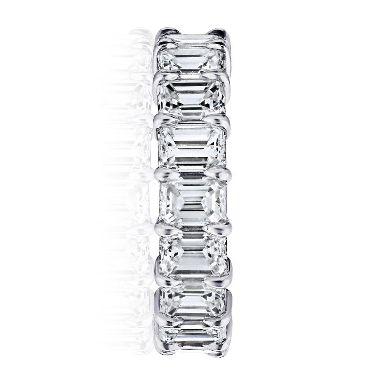 Women's or Men's GIA Certified 5 Carat Emerald Cut Diamond Ring Platinum Eternity Band For Sale
