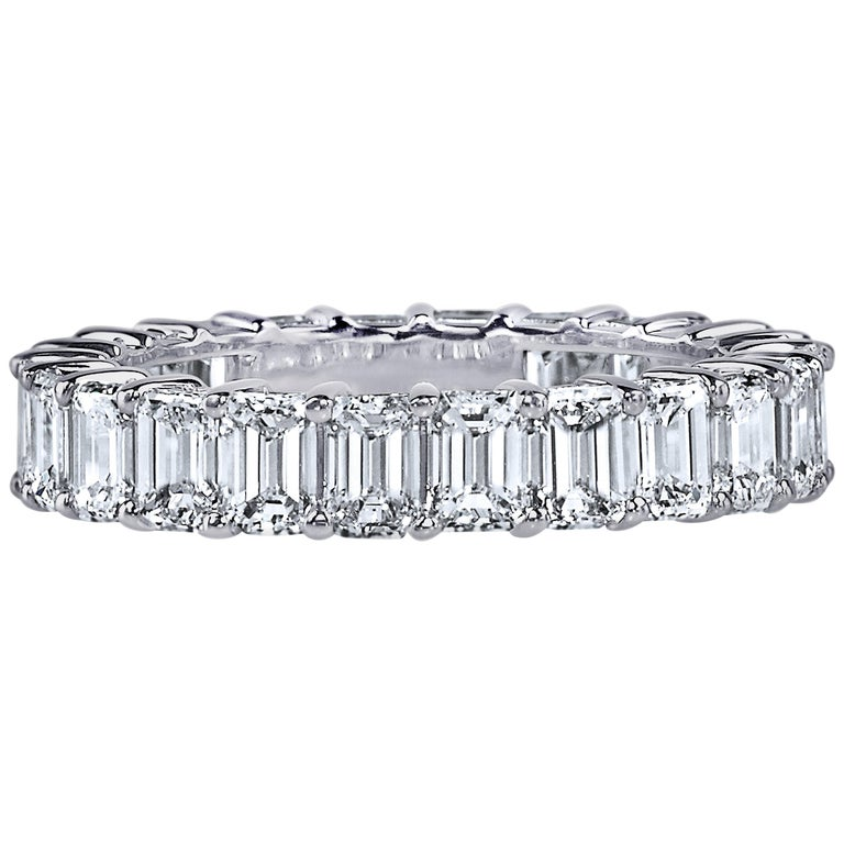 GIA Certified 5 Carat Emerald Cut Diamond Ring Platinum Eternity Band For Sale