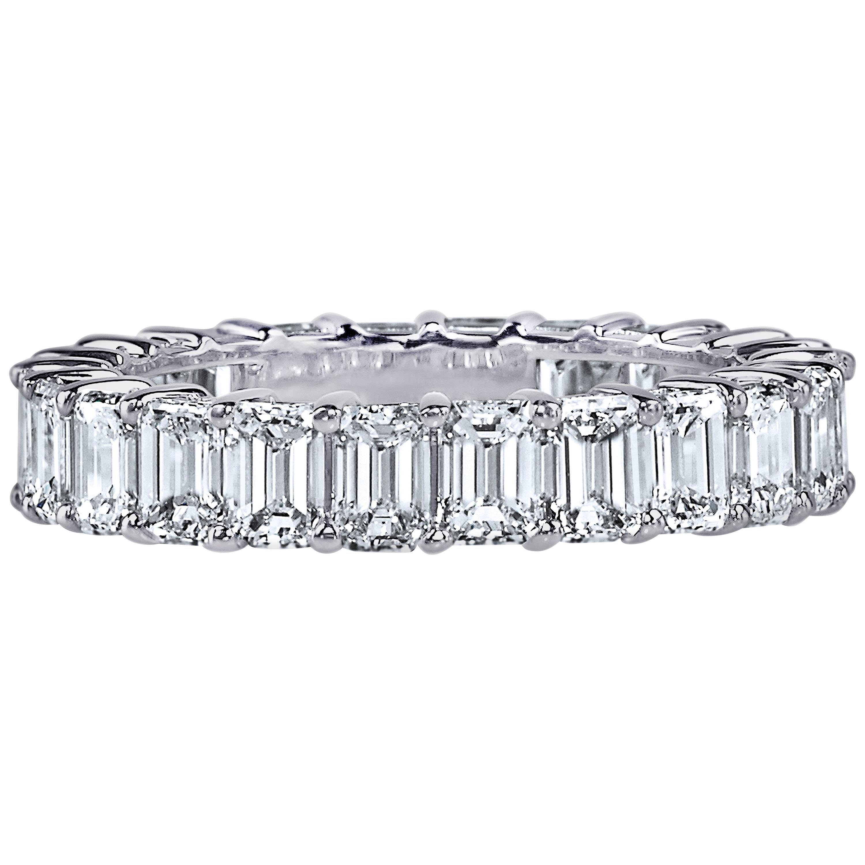 GIA Certified 5 Carat Emerald Cut Diamond Ring Platinum Eternity Band