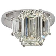 GIA Certified 5 Carat Emerald Diamond, 6.50 Carat 3-Stone Platinum Diamond Ring