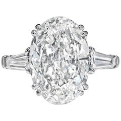 GIA Certified 5 Carat Excellent Cut Ring Internally Flawless H Color Diamond