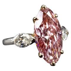 GIA Certified 5 Carat Fancy Intense Pink Diamond Marquise Cut Platinum Ring 6ct