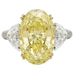 GIA Certified 5 Carat Fancy Light Yellow Oval and Half-Moon Diamond Ring