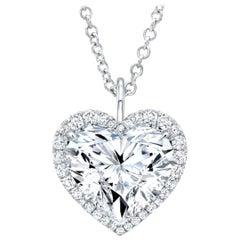 GIA Certified 4.75 Carat Heart Shape Diamond 18 Carats Gold Necklace VVS E Color