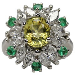 GIA Certified 5 Carat No Heat Yellow Sapphire Marquise Diamond Emerald Ring
