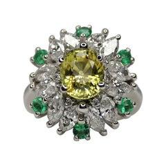 GIA Certified 5 Carat No Heat Yellow Sapphire Marquise Diamond Emerald Ring