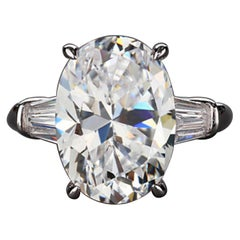 GIA Certified 5 Carat Oval Diamond Platinum Ring