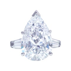 GIA Certified 5 Carat Pear Cut Baguette Platinum Ring
