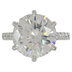 GIA Certified 5 Carat Round Brilliant Cut Diamond Ring Excellent Luster