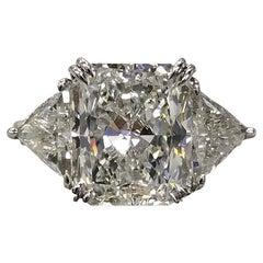 GIA Certified 5 Carat Square Radiant Cut Diamond Ring