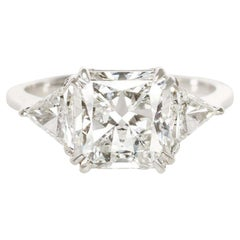 GIA Certified 5 Carat Square Radiant Cut Diamond Solitaire Ring