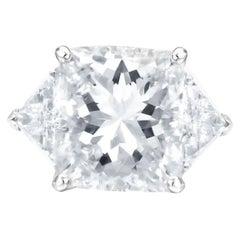 GIA Certified 5 Carat Square Radiant Trillion Cut Three Stone Diamond Ring