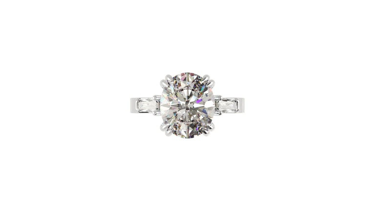 IGI Certified 3 Carat Oval Cut Diamond Ring For Sale 6
