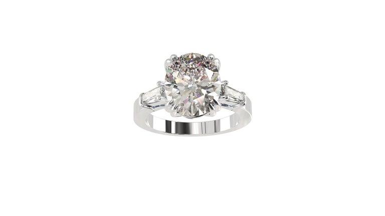 IGI Certified 3 Carat Oval Cut Diamond Ring For Sale 7